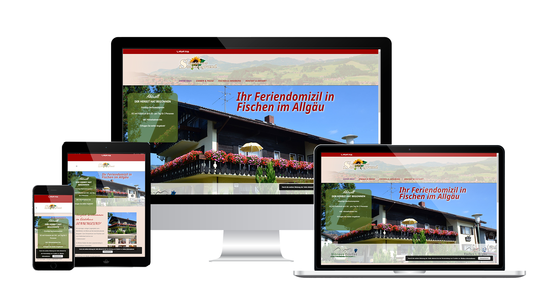 Webdesign Pension Sonnengrund